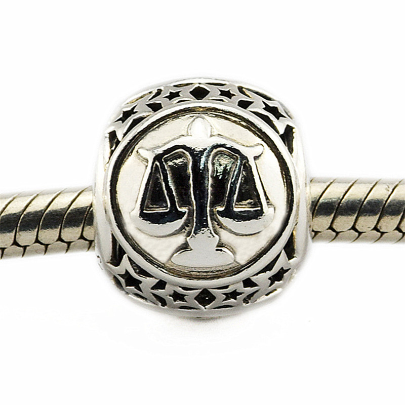 Charm Fit Original Pandora Bracelet Bead DIY Jewelry Libra Star Sign 100% Real 925 Sterling Silver Charm Jewelry FL421