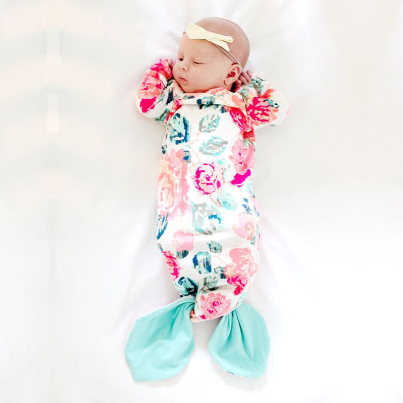 Baby Sleeping Gown With Mermaid Tie Pink Baby Gown Newborn Sleeper Bag Infant Babies Sleeper Gown 9-24 Monthes Swaddle Sack