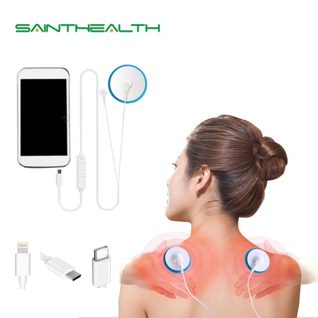 New Portable Muscle Stimulator Body Massager Phone connection Acupuncture Back Neck Tens Therapy Electric Massage Pad relaxation