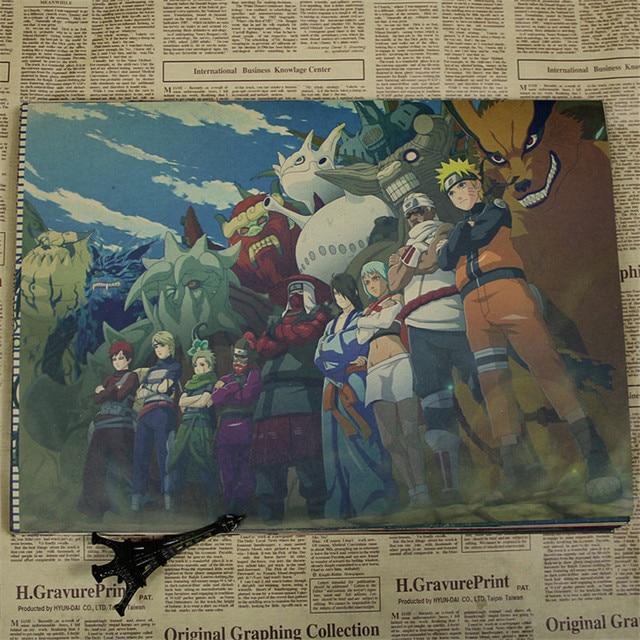 Vintage Retro Anime Naruto Uzumaki cartel Uchiha Sasuke Kakashi Hatake Haruno Sakura carteles Bar Café pared decoración para el hogar