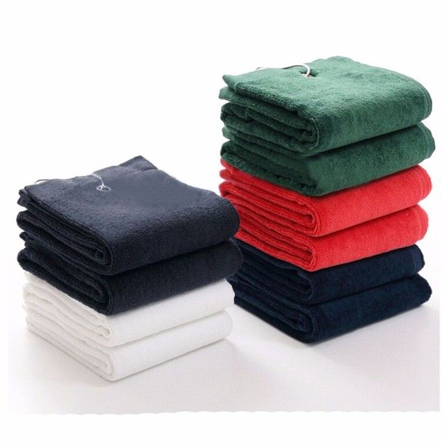 1PC 100% Cotton Golf Towel Size 40X60cm with Metal Hook Washcloth Golf Accessories---Customized Logo Printing Accept