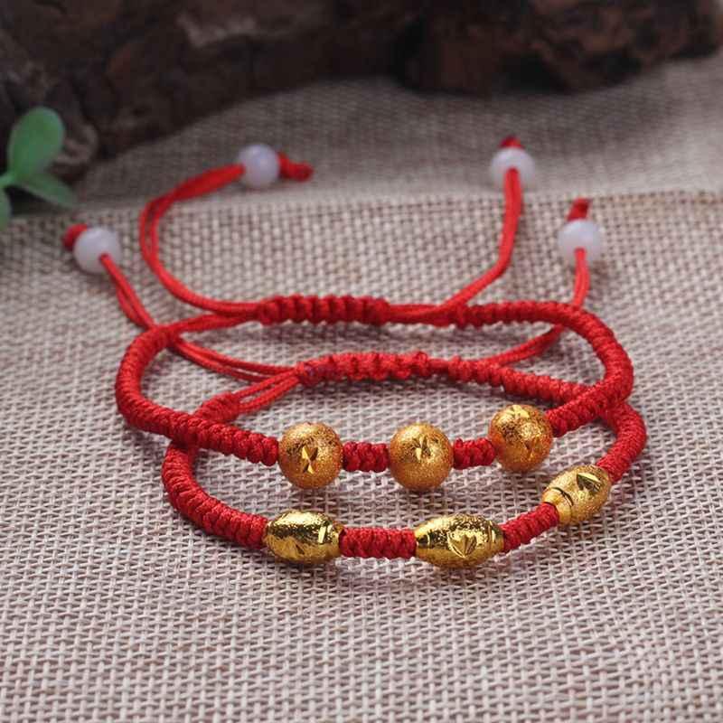 Fascino Vintage Tre Fortunati Perline Oro Mano Del Braccialetto Infinity Fatti A Mano Filo Rosso Braccialetto di Corda Per Le Donne Degli Uomini