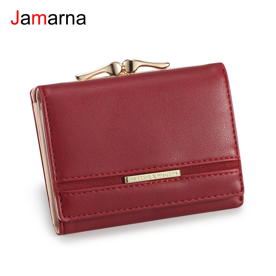 Jamarna Wallet Female PU Coin Purse Clasps Small Wallet Purse Women Red Slim Wallet Card Holder Small Wallet For Coins Splice wallet