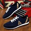 2016 nuevos mens Casual Zapatos de lona para los hombres con cordones de moda Transpirable verano otoño Pisos pu de Cuero de moda zapatos de gamuza