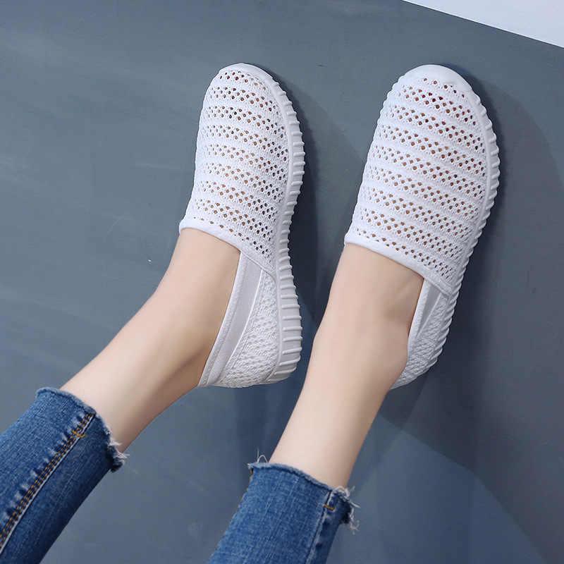 ฤดูร้อน 2019 ผู้หญิง breathable ตาข่ายรองเท้าสบายๆแฟชั่นรองเท้าผู้หญิงรองเท้าสีขาวตื้น slip-on รองเท้า loafers