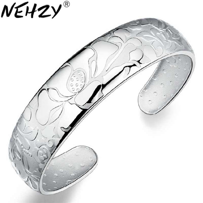One thousand fine silver bracelet 999 silver one thousand fine silver bracelet opening Lotus said jewelry wholesale