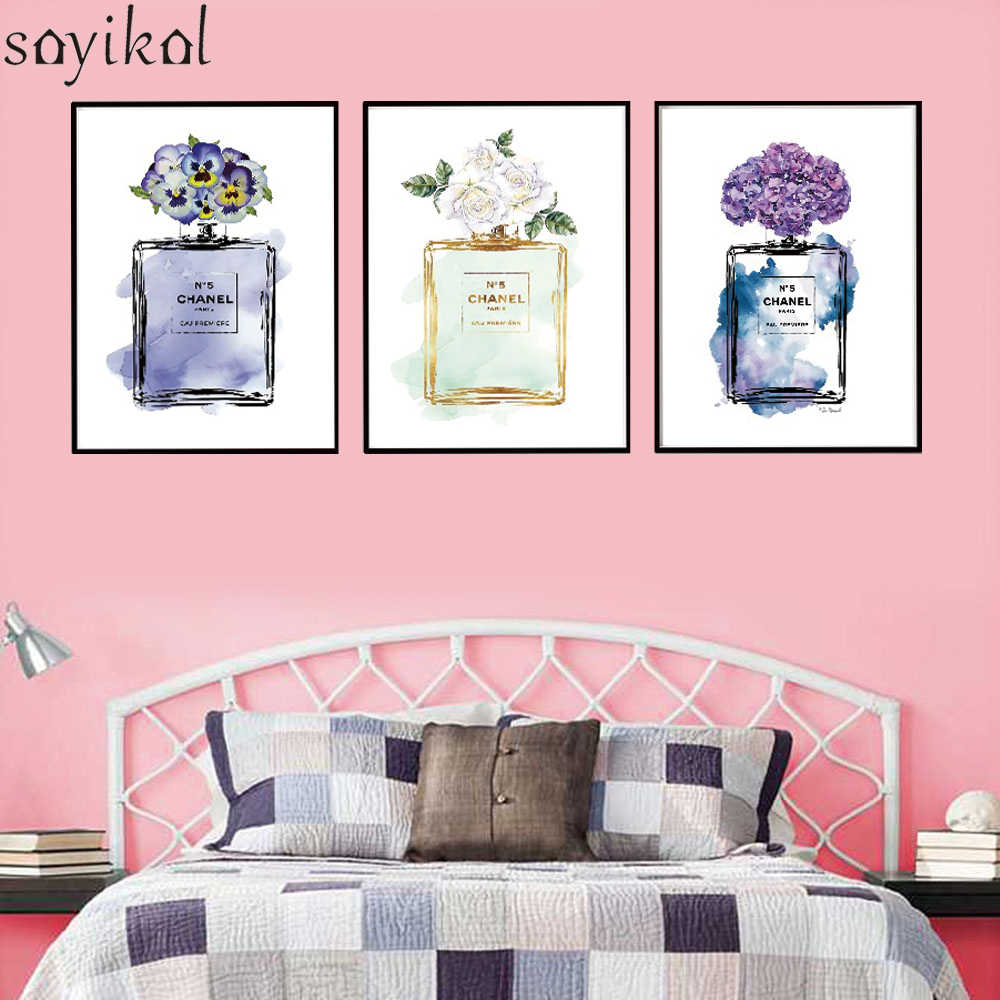 Canvas Painting Home Decor Abstract COCO Perfume Bottle and Flower Wall Art N5 Print Painting Modern Pictures Wall Nordic Poster