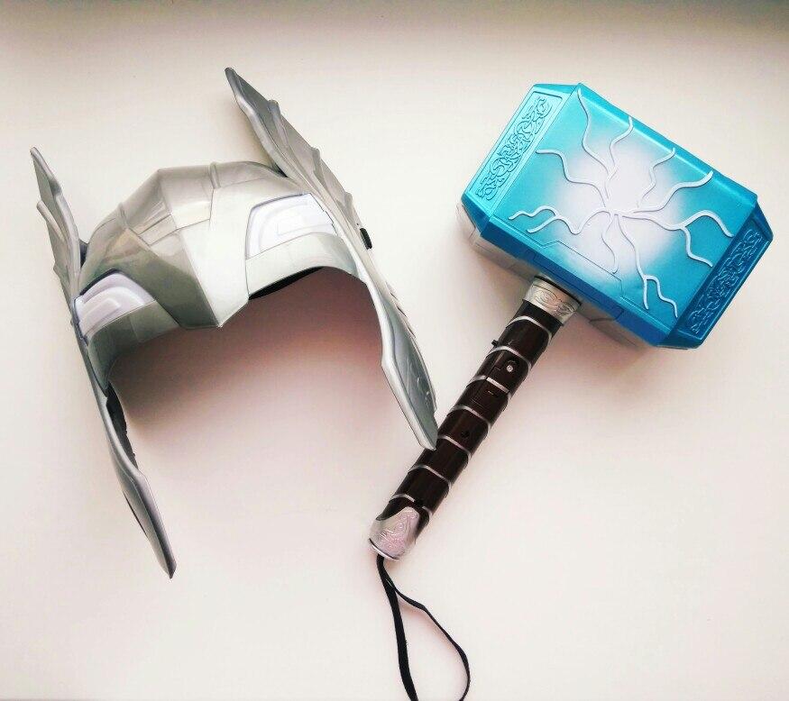 2019 parduoti kaip karšto pyragai Thor Avengers Aljanso serijos žaislas 28cm Šviesus balsas Thor Hammer Halloween Show Props ginklų modelis