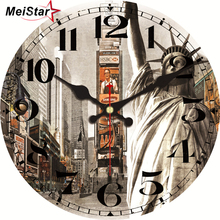 MEISTAR Vintage Clocks Silent Antique Times Square Design Watches For Living Room Kitchen Home Decor Art Large Wall