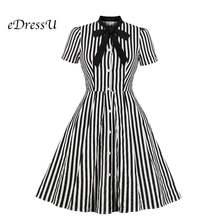 Edressu Полосатое платье рубашка с бантом черное Элегантное