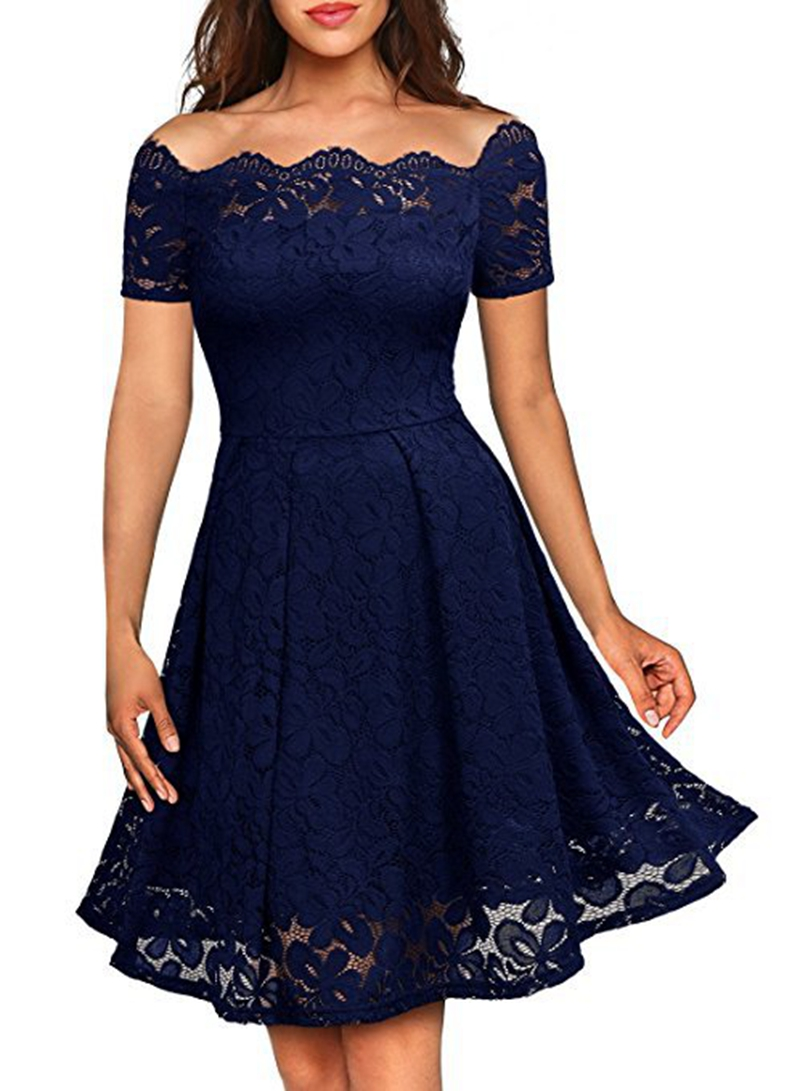 Womens Elegant Vintage Sexy Lace One Piece Dress Suit Tunic Casual Club Bridesmaid Mother Of Bride Skater A-Line Party Dress