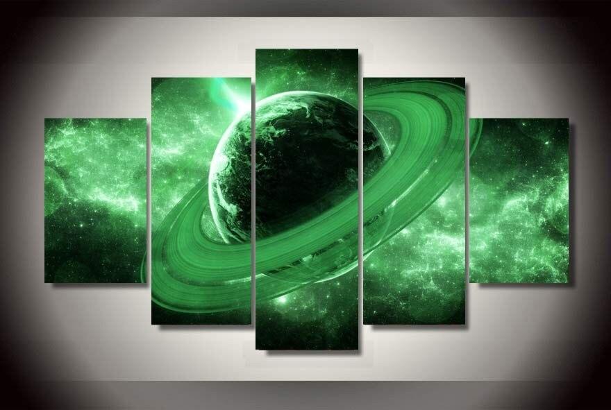 Nový 2016 ve stylu 5 ks nástěnné malby zelené Saturn Fantasy Universe tištěné umění pro školní výzdoba doprava zdarma