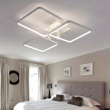 Новые квадратный кольца дизайнер современные светодиодные потолочные светильники лампы для гостиной лобби алюминиевый корпус пульта дистанционного управления потолочный светильник