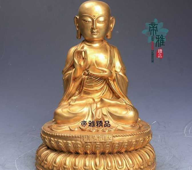 Tibet Buddhism Copper 24K Gold Gild Tangseng Jizo Ksitigarbha Monk Buddha StatueTibet Buddhism Copper 24K Gold Gild Tangseng Jizo Ksitigarbha Monk Buddha Statue