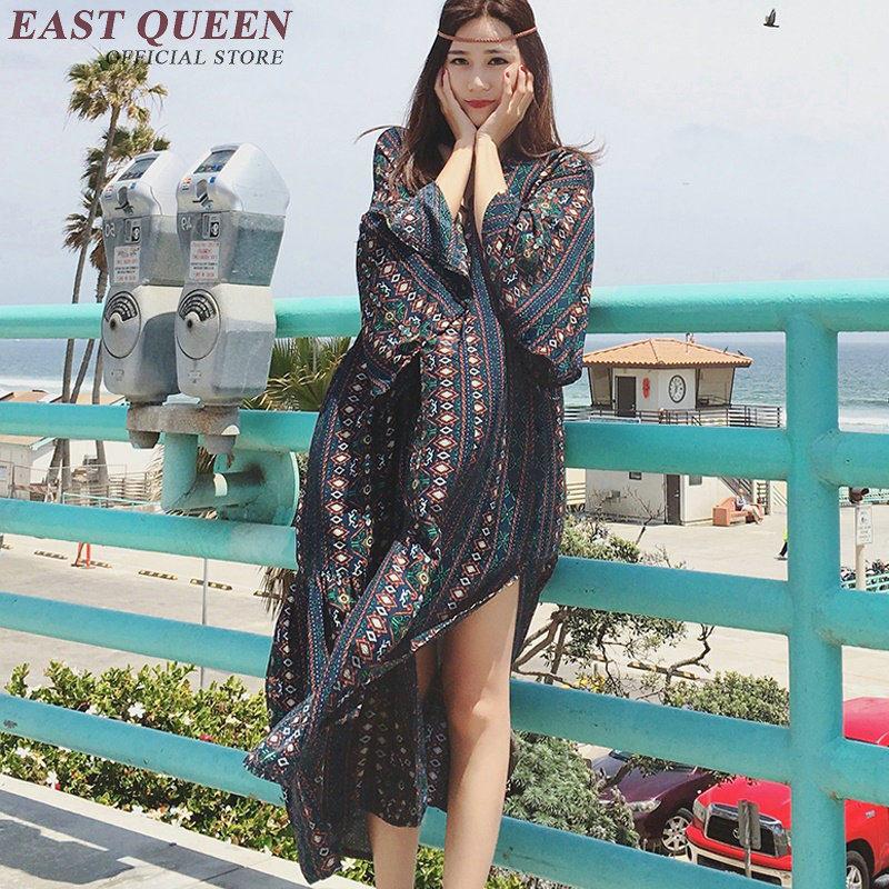 60301e659c1 Chic hippie bohemian style dress hippie clothing women long sleeve vintage  floral print 2018 summer beach
