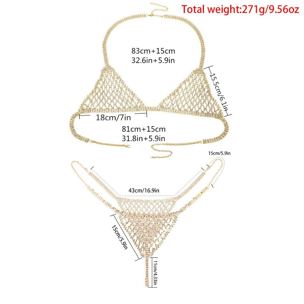 Wholesale Sexy Body Chain Set Rhinestone Chain Bra Chain Bikini Suit Jewelry Deep V Neck Silver Gold Color Jewelry for Women in Body Jewelry from Jewelry Accessories