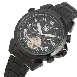 Luksusowy zegarek mechaniczny automatyczny Tourbillon zegarek ze stali nierdzewnej Auto data kompletny kalendarz JARAGAR zegarki męskie