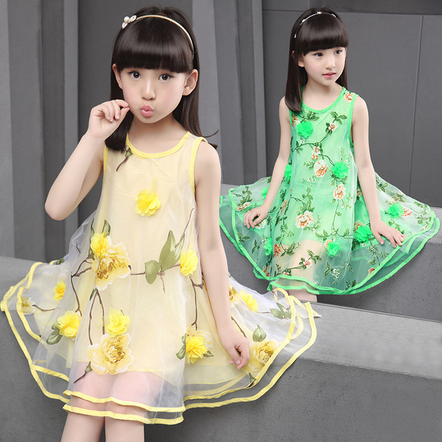 Прямая поставка 2016 новый летний платье девочки принцесса платья с флора печать зеленый желтый цвет девочек одежда A510