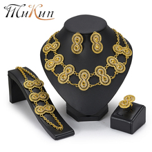 MuKun Nigerian Wedding Jewelry Sets Ethiopian African Beads Set Gold Color Choker Bridal Dubai Women 2018 New