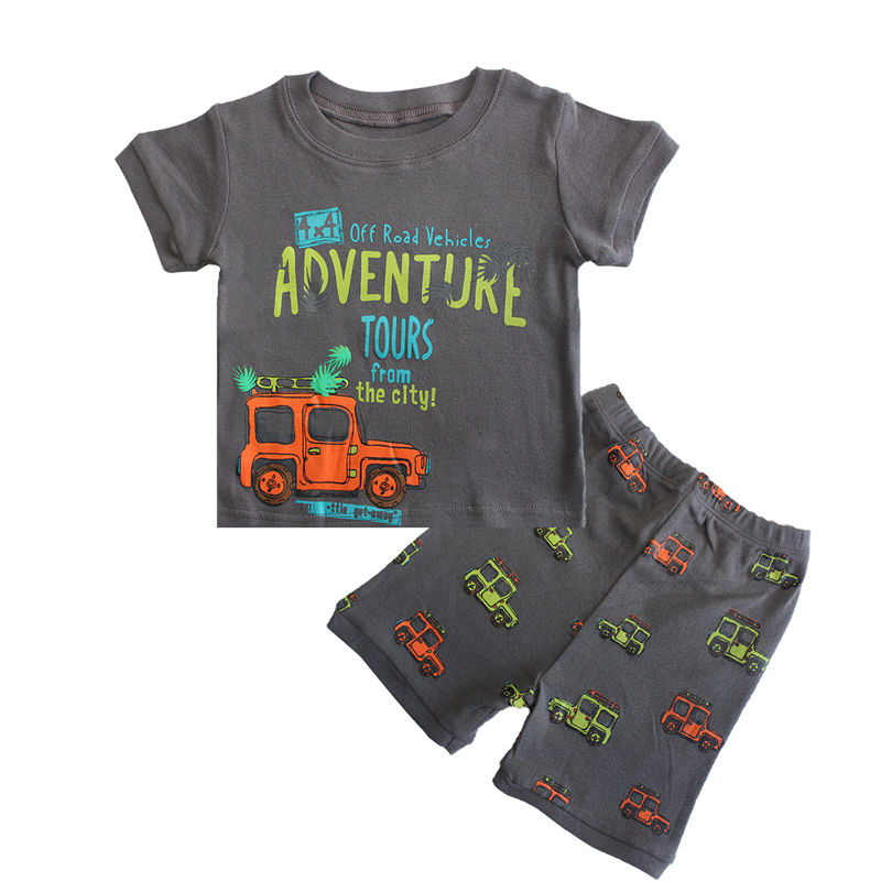 f23bbac6fd09 2018 Boys Summer Clothing Set Short Cartoon Car Applique T Shirt+Shorts  Dinosaur Print Toddler Kids Outfits Set Baby Boy Clothes-in Clothing Sets  from ...