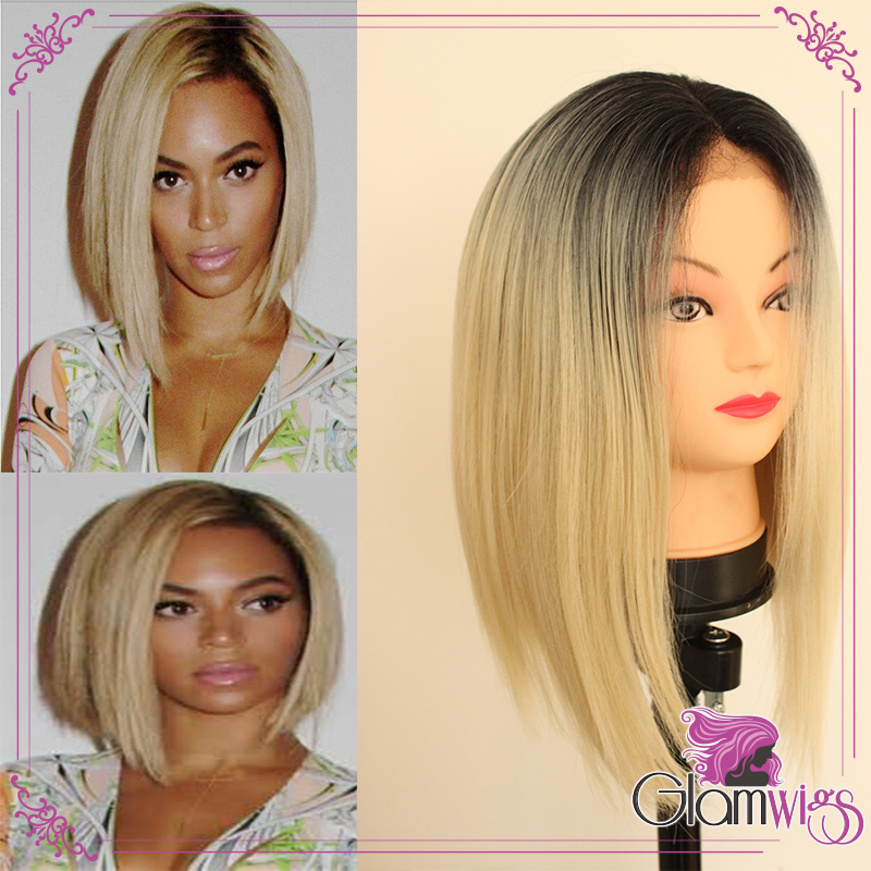 Short Blonde Ombre Wig 5