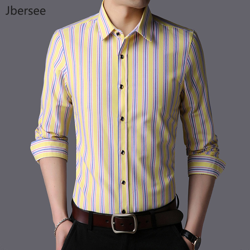 a1a6ee7e83 2019 hombres de Marca Ropa raya de la manera Camisa de vestir de negocios  camisas del Mens Slim Fit manga larga hombres Camisa Masculina