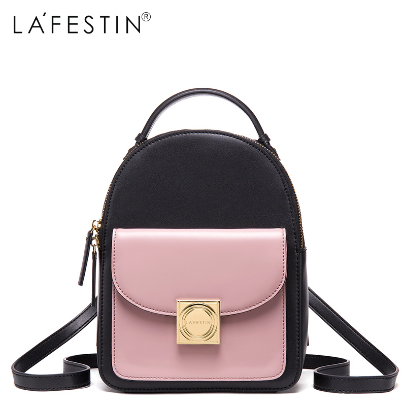LAFESTIN Leather Backpack Women Zipper Style Patchwork Backpack Girls School Bags Genuine Leather Back Backpack Mochilas selected short stories
