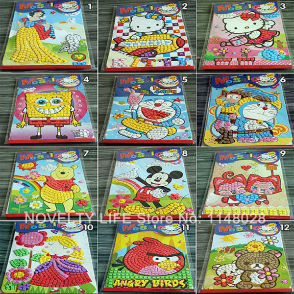 12pc Mosaic Puzzle Sticker Handmade DIY Coloring Notebook EVA Paint Learning EducationDigital Drawing Toy Children