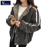 Vangull jaqueta feminina inverno novo algodão cordeiro veludo grosso casaco 2019 outono casual feminino manga longa lado listrado solto outerwear