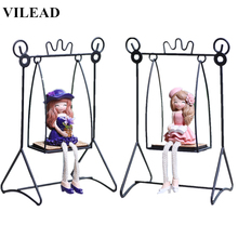 VILEAD 6.7 Fairy on Swing Figurine Iron Miniature Lovely Resin Girl Figurines Creative Gift Trapeze Model for Home Decor