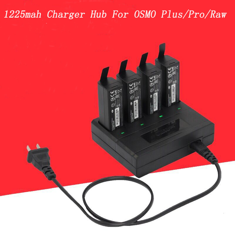 4 in 1 Battery Charger 1225mAh Battery Parallel Charger Intelligent Charger for DJI OSMO+/ OSMO PRO and RAW Charging Hub