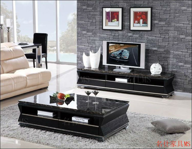 Several Marble Coffee Table Long Stainless Steel Frame Solid Wood Drawer  Minimalist European Furniture Upscale Travertine