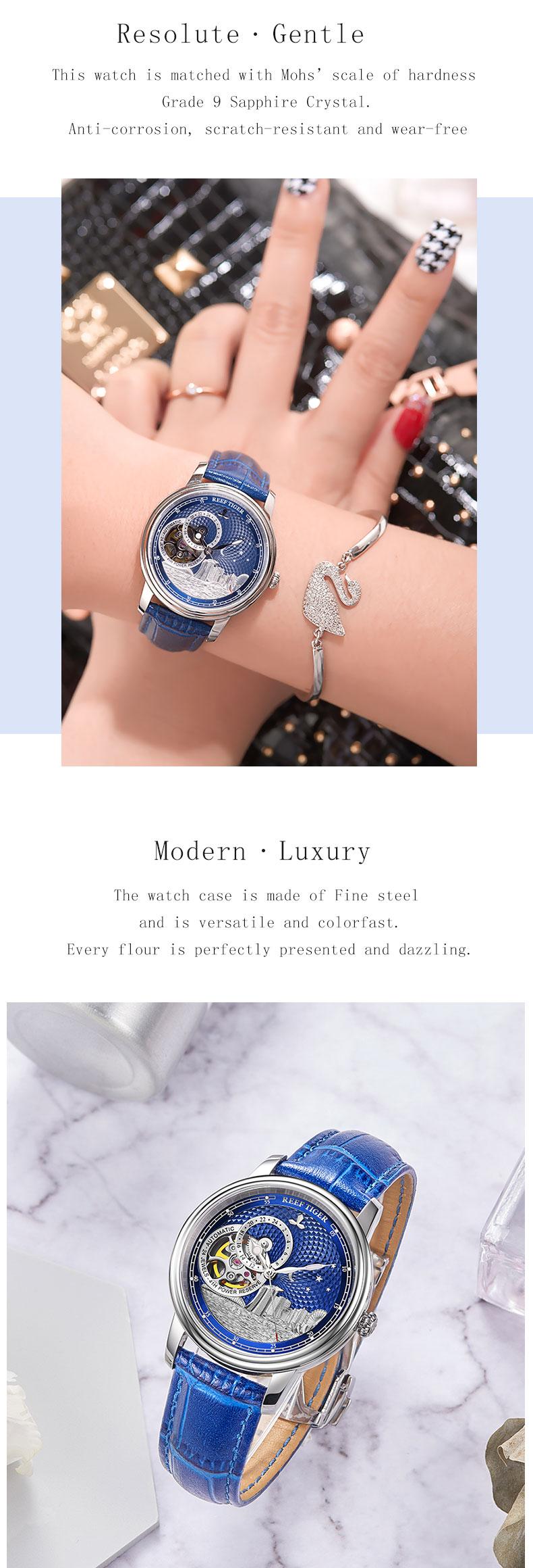Reef Tiger/RT Blue Tourbillon Automatic Watch Luxury Fashion Watch for Women Men Unisex Watches 2019 New Clock Reloj RGA1739