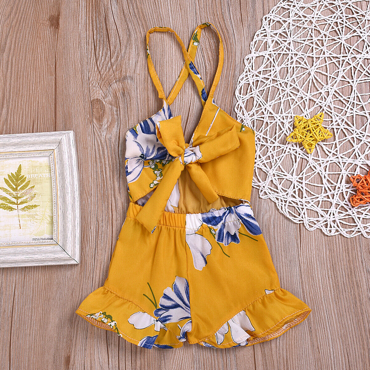 0 3Y Newborn Baby Toddler Girls Flower Romper Sleeveless Ruffle Strappy Backless Hollow Out Cute Casual Playsuit Summer Clothes in Rompers from Mother Kids