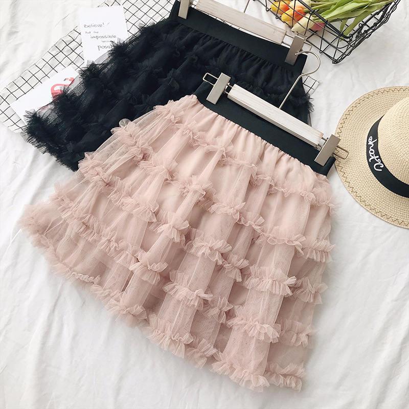 Women Sweet Mesh Tulle Skirt Summer Black Pink Short High Waist Sexy Mini Skirt Jupe Femme Princess Tutu Skirts Womens C5502