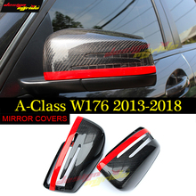 A class W176 Wing Door Mirror Cover with Red Line Carbon fiber 2pcs 1:1 Replacement For Mercedes A45AMG look mirror covers 13-18
