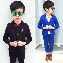 3pcs Suit For Boy Weddings Costume Boys Blazer Set GentlemenS Clothing Coat+Vest+Pants Suits