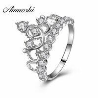 AINUOSHI 925 Sterling Silver Princess Crown Engagement Rings Sona Round Cut Wedding Anniversary Bridal Rings Christmas