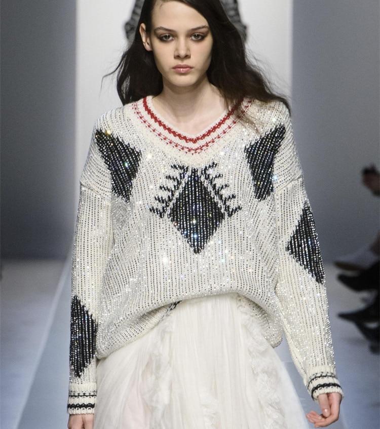 Forage Bling Pull Piste De 2019 D'hiver Blanc Chaud Chandails Conception Femmes Sweat Mode Tricoté 7RHYUw8q