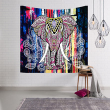 India Myanmar Elephant wall tapestry hanging home decor Mandala exotic religious boho Datura beach towel cover up