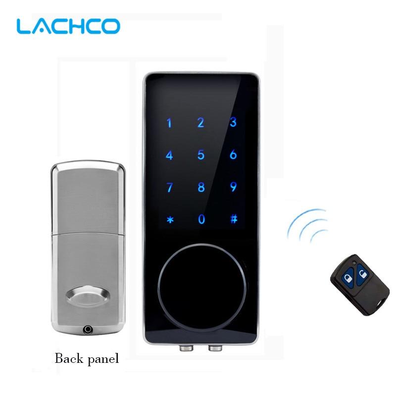 LACHCO Electronic Door Lock Remote Control Password Mechanical Key Touch Screen Keypad Digital Code Lock Smart