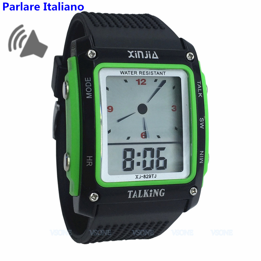 Rectangle Dial, Black And Green Color, Italian Talking Watch For The Blind And Elderly Electronic Sports Wristwatches 829TI-G