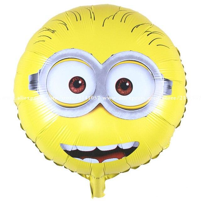 Hot Sale 50pcs/lot 18 inch round Despicable Me Minions balloon birthday party Foil helium balloon yellow man cartoon air globos
