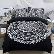 Wongs Bedding Bohemian Set Black Mandala Duvet Cover Pillowcase Double Queen King Size 3PCS