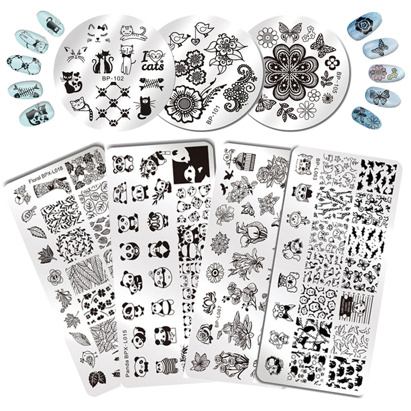 Open Square Design On Nail Stamping Plates