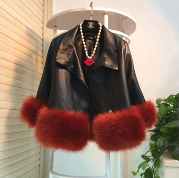 Korean women loose small   leather   fashion faux fur luxurious coat new winter tops multi-color large size jacket soft Fur outwear