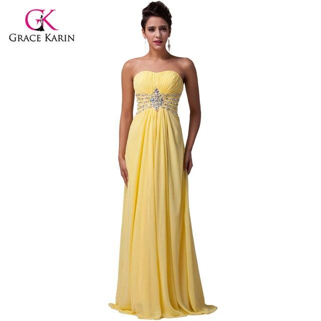 Grace Karin Elegant Strapless Beaded Long Yellow Prom Dresses 2017