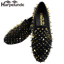 Harpelunde Spikes Men Dress Wedding Shoes Slip On Loafers Velvet Slippers