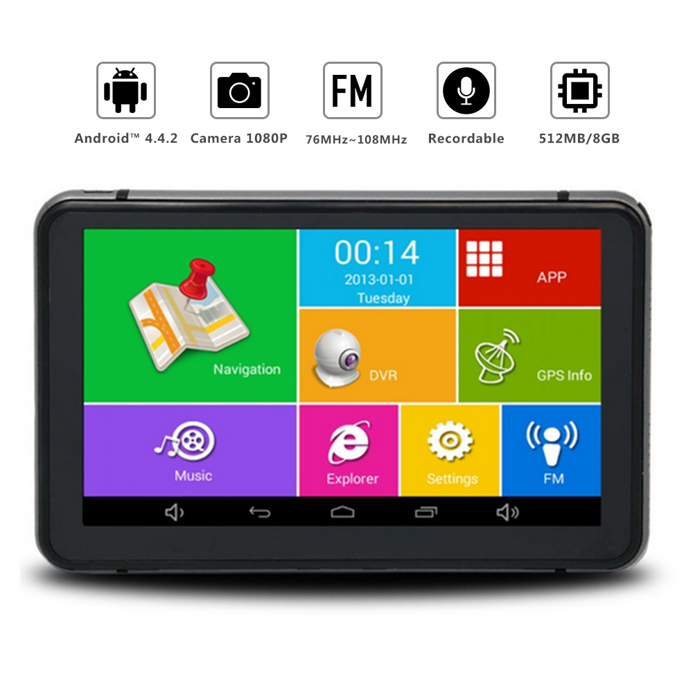 7 inch Car DVR GPS Navigation Android 1080P DVR Recorder 512Mb 8Gb Truck Vehicle Gps Navigator With Rear View Camera Free Maps 7 inch car gps data recorder pianet navigation vehicle traveling smart for android bluetooth wifi support rear view camera hot