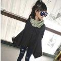 Niños Blusa de Las Muchachas Camisa de manga Larga para Las Niñas 2017 Otoño Primavera Adolescente Niñas Abrigos y Chaquetas Largas Top Negro Ropa verde